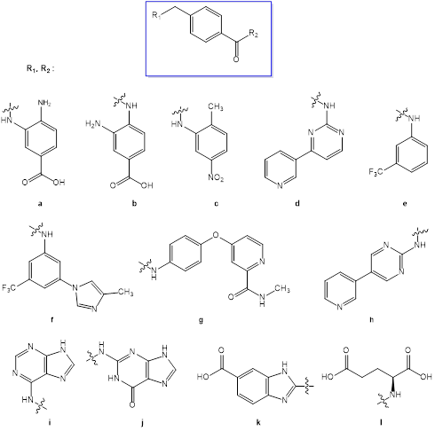 Computer-aided molecular design of new potential inhibitors of protein kinases using of 4-methyl-benzoic acid as a linker